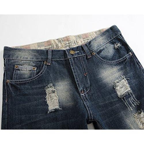 ef7c349a5 Homme Skinny Trou Biker Jeans Straight Déchiré Styles Destroyed ...