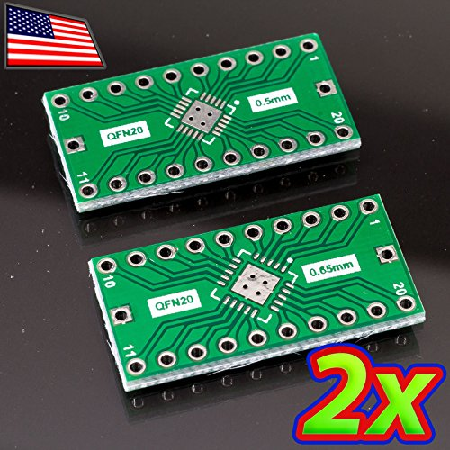 UPGRADE INDUSTRIES [2x] Double Sided QFN-20 to DIP-20 Adapter Breakout PCB Converter by UPGRADE (Qfn Dip Adapter)