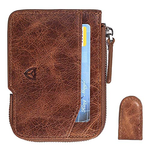Slim Wallet with Zipper RFID Sleeves Front Pocket Minimalist Wallet Card Holder (Wax Coffee)