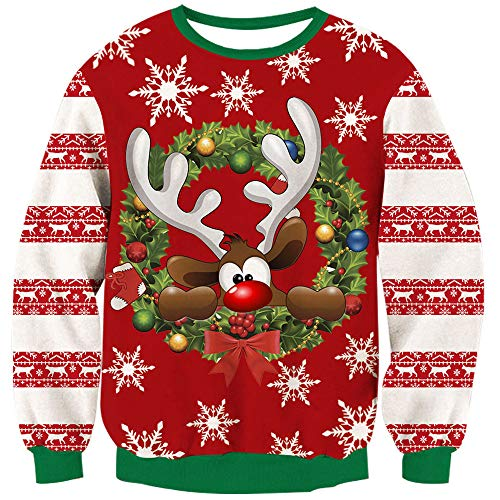 TUONROAD Hilarious Ugly Holiday Christmas Vacation Sweater Cute Brown Reindeer Colorful Decorations Bowknot Ball Funny Sweatshirt Jumpers 3D Print Novelty Xmas Long Sleeve Crew Neck Pullover T-Shirt