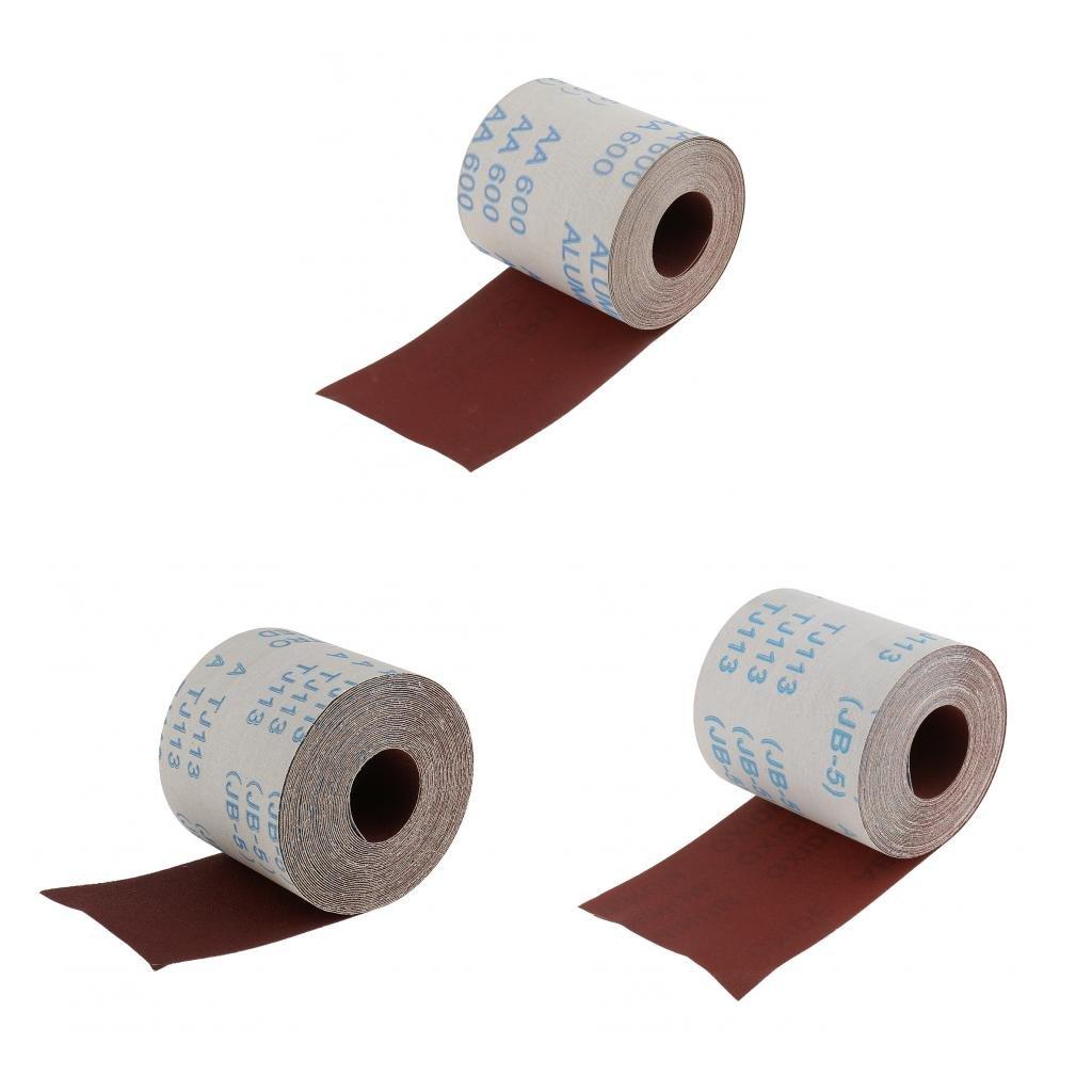 Homyl 3 Stü ck 10 Meter Schleifpapier Rollenpapier Rolle 120/320/600 Kö rnung Handschleifpapier