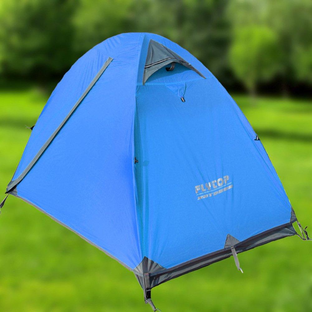 TY&WJ Campingzelt Double Layer Kuppelzelte Doppeltür Tipi Portable Faltung Wandern Klettern Regendichte Windproof Einzelne Person