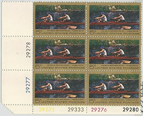 Stamp United States Scott 1335 The Biglin Brothers Racing Thomas Eakins 6 cent Plate Block MNH