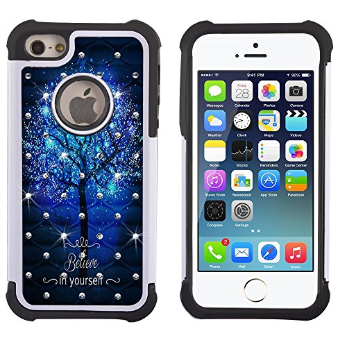 iPhone 5s Case, iPhone SE Case, UrSpeedtekLive [Shock Absorption] Dual Layer Hybrid Defender Protection Rhinestone Crystal Bling Cover Case for iPhone SE/5/5S, Believe in Yourself