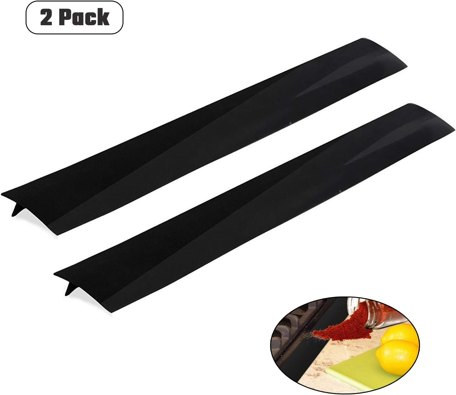 2 Pack Silicone Kitchen Stove Counter Gap Cover Long & Wide Gap Filler(21 inches) Heat-Resistant and Easy Clean for Stovetops, Washing Machines, Oven, Washer, Dryer(Black)