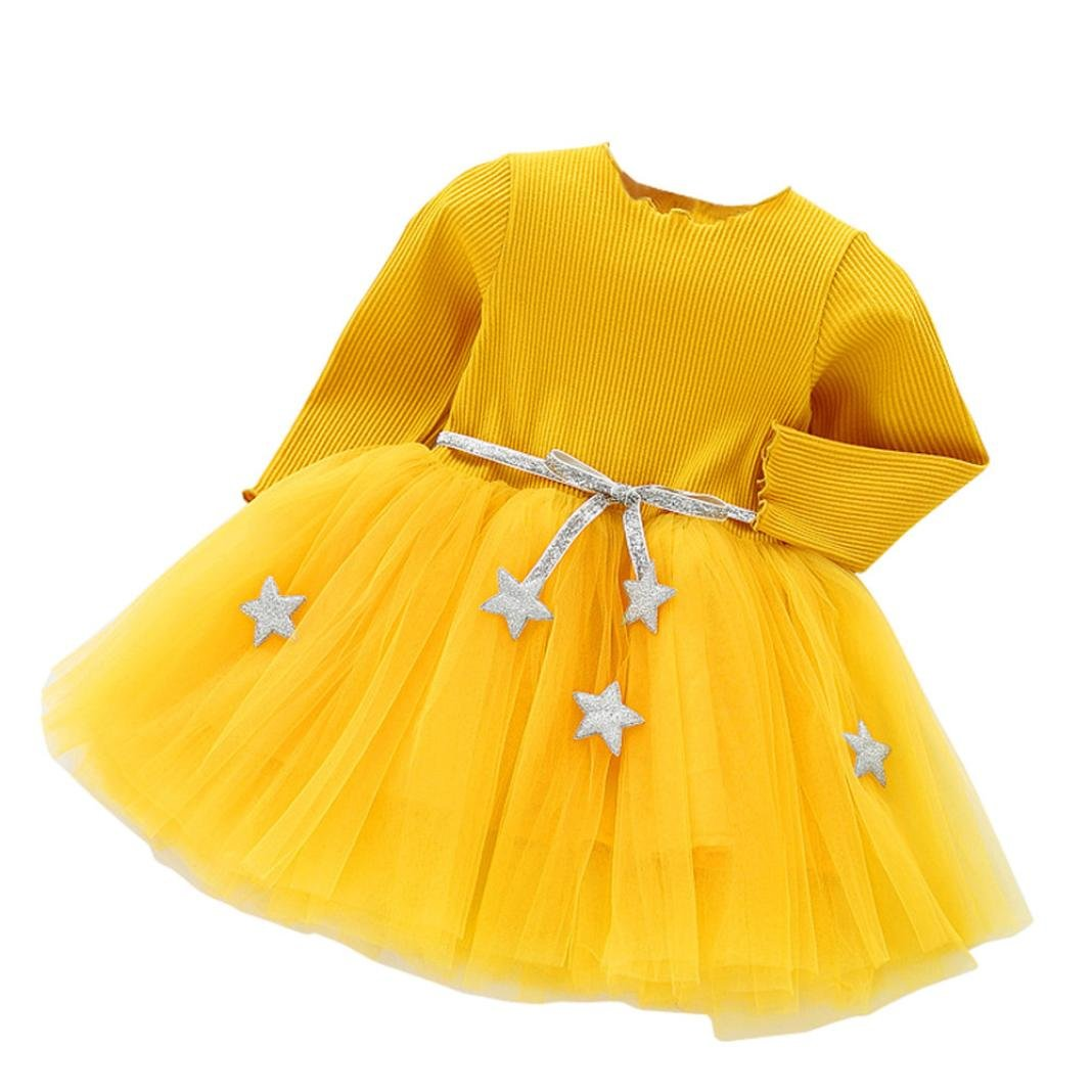 HLHN Baby Girls Dress Princess Belt Star Cute Net Yarn Tutu Ruffles Party Clothes Toddler Infant Long Sleeve Winter