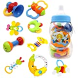 Rattle Teether Set Baby Toy - 9 Pieces Colorful Teether Toy with Giant Baby Bottle Coin Bank Gift Sets
