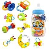 Coffret de jouets avec hochets anneau de dentition -9 pièces de hochets avec différentes couleurs et formes - idéal cadeaux pour les Bébés