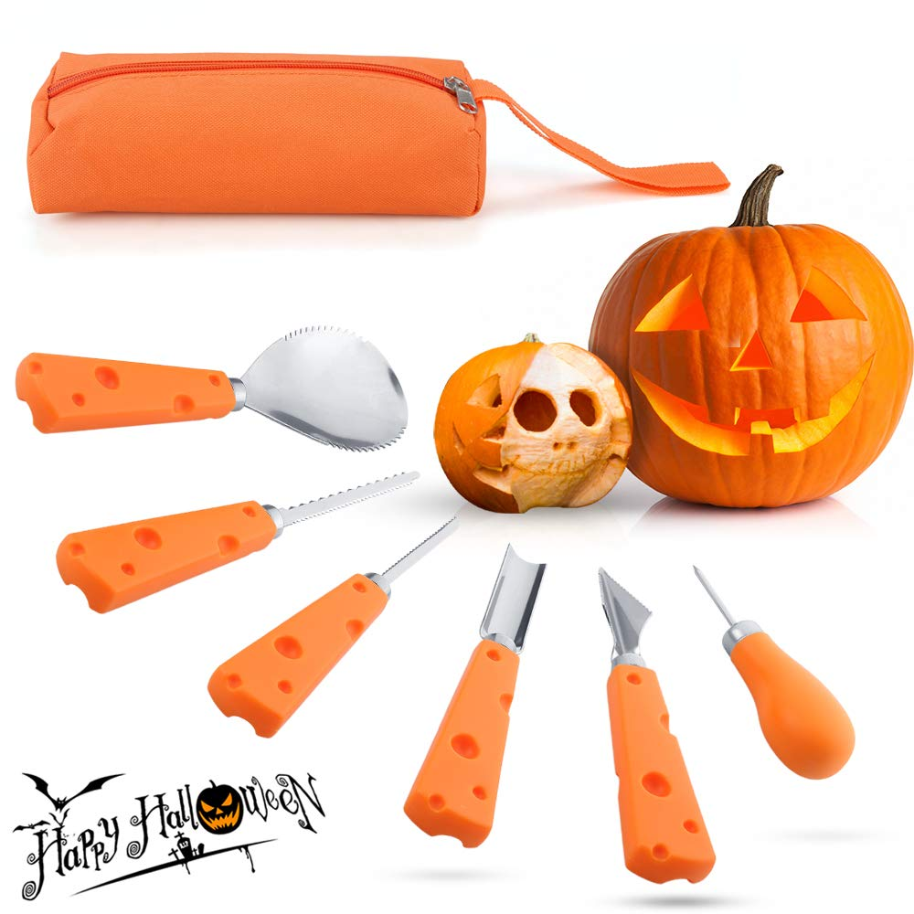 Pumpkin Carving Tools Kit Professional - Cinsey 6 Pcs Stainless Steel Halloween Pumpkin Carving Knife Set Sculpting Tool