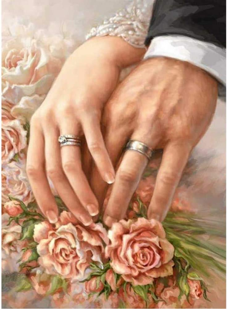 30/×40cm Newly Married 5D Diamond Painting Tool Full Drill Diamond Paint Couple Wedding Ring Vertily Paintings DIY for Art Wall Home Decor,Crystal Prime Diamond Painting Kit s for Kids