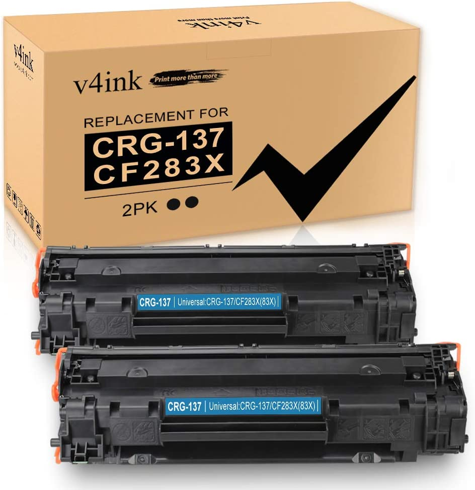 V4INK 2 Pack Compatible Toner Cartridge Replacement for Canon 137 CRG137 HP 83X CF283X for Canon D570 MF216N MF244DW MF247DW MF249DW MF232W MF236N MF229DW MF227DW MF212W HP M225DW M201DW M127FW M125NW