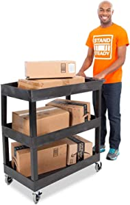 Tubstr 3 Shelf Utility Cart 2 Pack | Each Heavy Duty Service Cart Supports 400 lbs |Includes 2 Tub Carts with Deep Shelves | Great for Warehouse, Garage, Cleaning & More (32 x 18/2-Pack/Black)