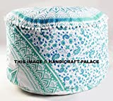Indian Large Ombre Mandala Round Green Floor Meditation Footstools Ottoman Poufs 24'' By ''Handicraft-Palace''