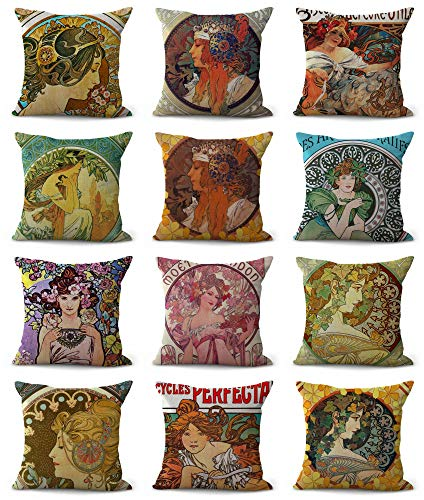 WholesaleSarong 10pcs Cushion Covers Art Nouveau Alphonse Mucha Cushions and Pillows
