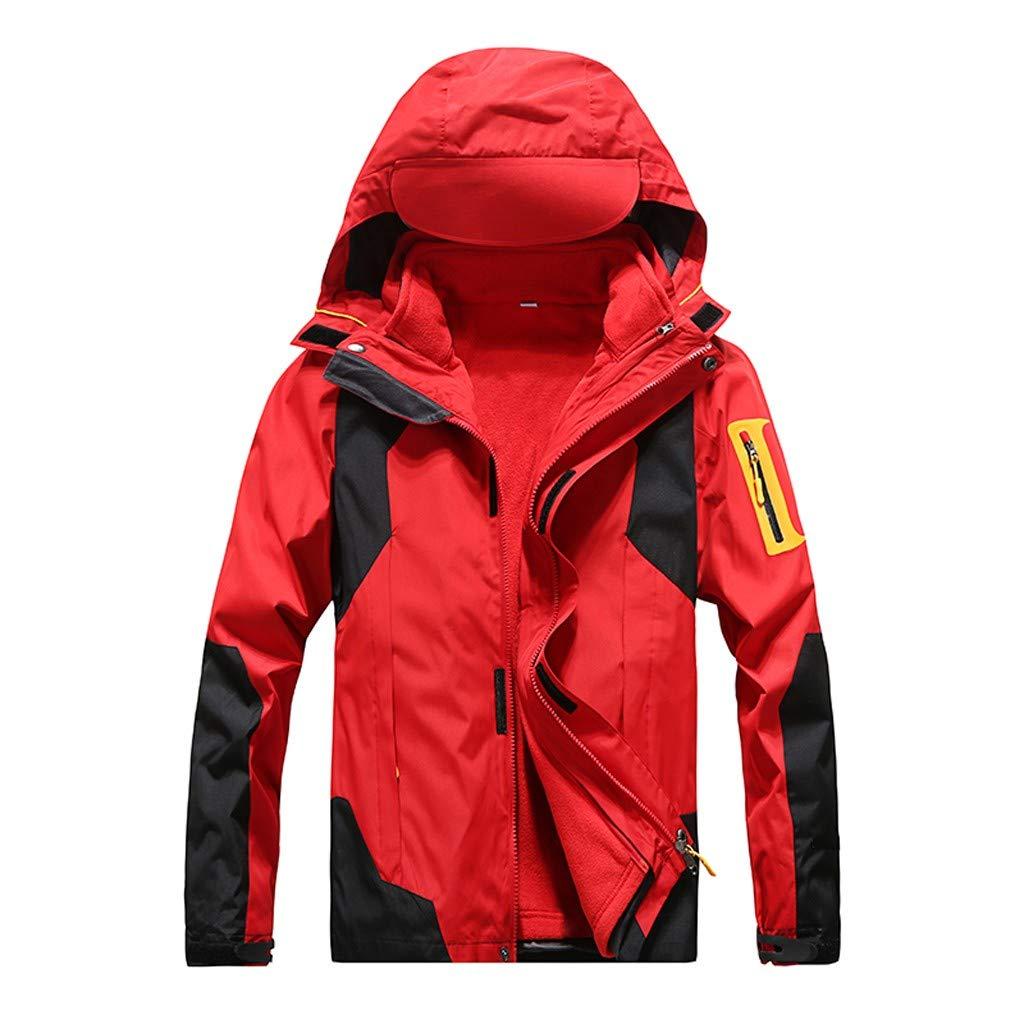 IEason Women Winter Coat Outdoor Waterproof Softshell Rain Jacket Detachable Breathable Sport Outdoor Coat Red by IEason Women Coat