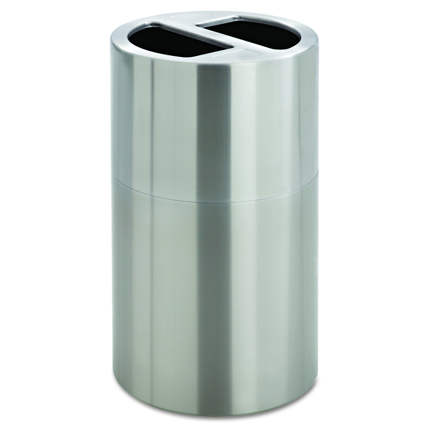Safco Products 9931SS Dual Bin Waste Recycling Receptacle, Silver