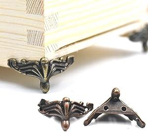 "Fujiyuan 10 pcs Alloy Jewelry Chest Box Wood Decorative Feet Leg Corner Protector Bronze 37mm 1.46"" Guard Furniture"