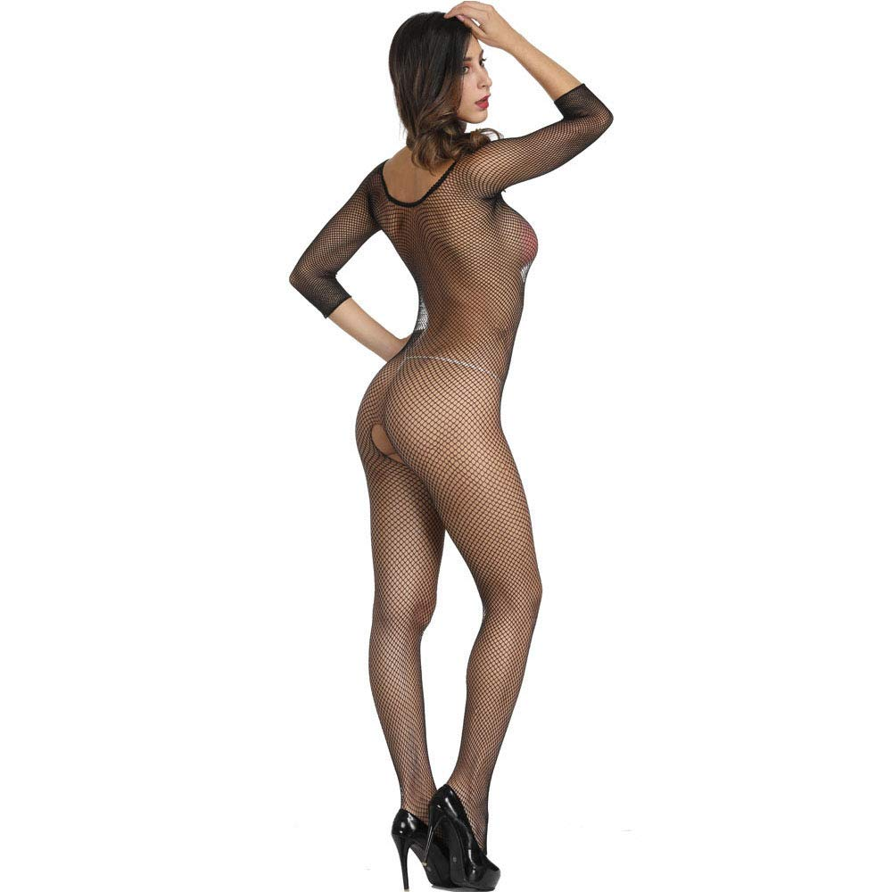Axiba Women's Plus Size Fishnet Body Stockings Striped Lingerie Crotchless Bodysuits Tights Suspenders (Black)