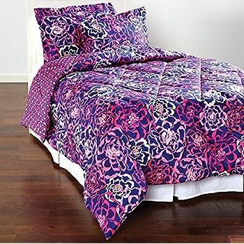 Amazon.com: Vera Bradley Reversible Sateen Comforter Set Full ... : bradley quilt set - Adamdwight.com