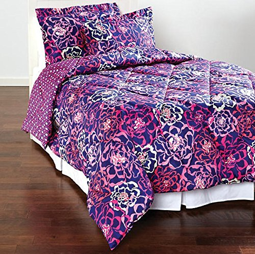Vera Bradley Reversible Sateen Comforter Set Full/Queen - Katalina Pink (Vera Bradley Queen Bedding)