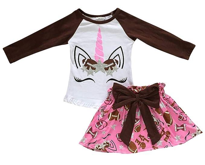 143ecce04 Dreamer P Little Girls' 2 Pieces Skirt Set Unicorn Baseball Love Glitter Birthday  Outfit Brown