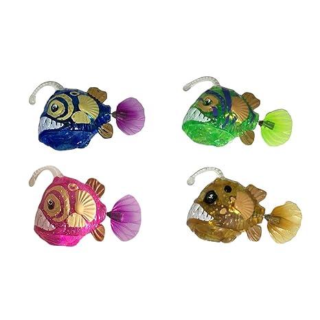 TOYMYTOY 4pcs bebé baño peces juguetes realistas de plástico realista movimiento artificial flotante luz peces para