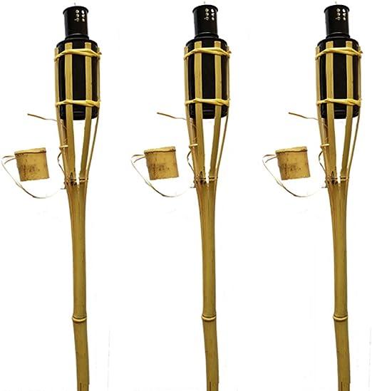 K & F 24 unidades bambú Antorchas de jardín 90 cm Butt marrón, aceite, Antorchas con