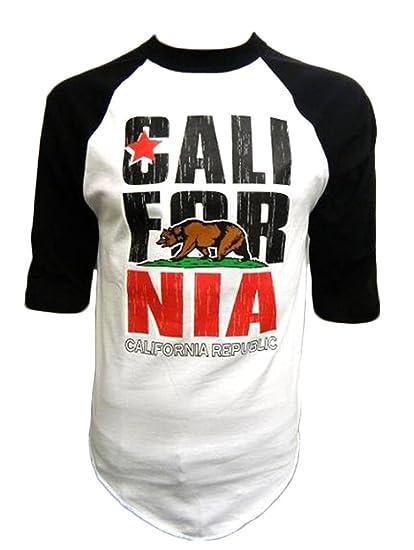 De la República de Logo California oso de peluche llegan hasta la mitad-con cierre de solapa y camiseta de manga corta de Béisbol: Amazon.es: Ropa y ...