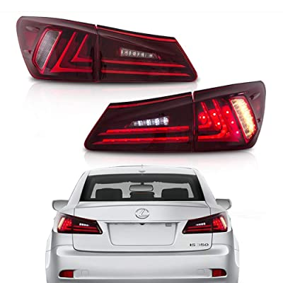 MOSTPLUS Tail Lights For Lexus IS350 IS250 2006-2012 (Set of 2) (Red Clear): Automotive
