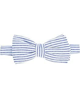 9cbc83b2bf7a The Tie Bar 100% Cotton Midnight Navy Seersucker Self-Tie Bow Tie at ...