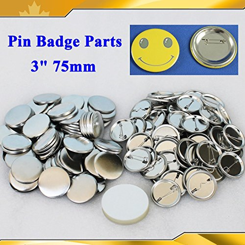 Asc365 Badge Button 3'' 75mm 100sets Pin Parts Supplies for Pro Maker Machine(item#015509) by Button Maker