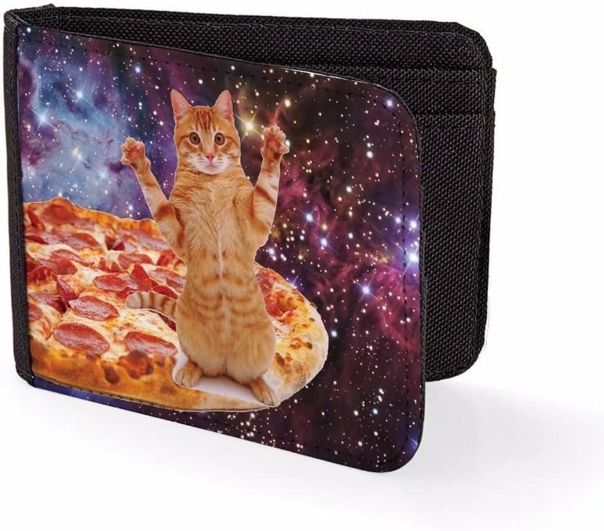 Mens Wallets Billfold Card Holder Pizza Cat In Space Novelty Wallet