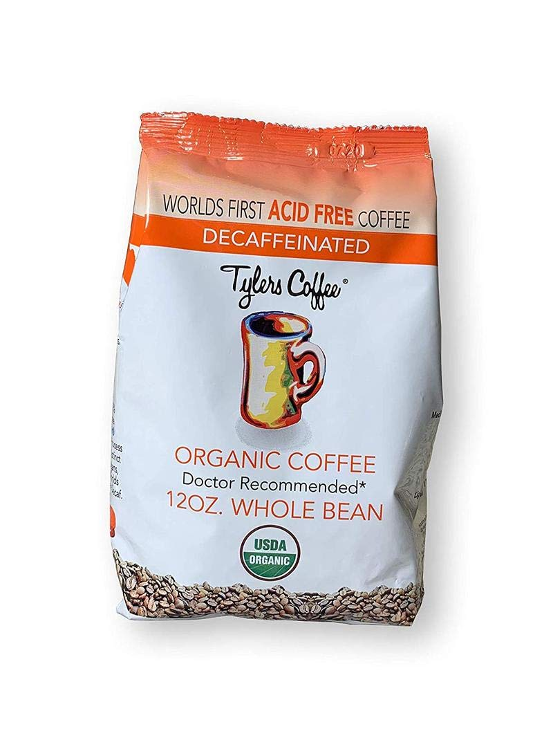 Acid-Free Organic Tyler's Coffee - 100% Arabica Full Flavor & Neutral pH - Gentle on Stomach - No Bitter Aftertaste - Reduce Acid Reflux - Ideal for Acid-Free Diets - 12 oz (Decaf, Whole Bean)