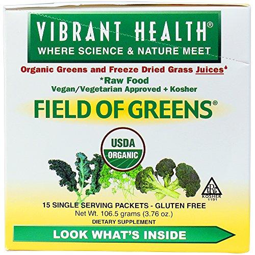 Vibrant Health - Field of Greens - 100% Raw, Organic, Vegan Greens + Certified Kosher, 15 servings