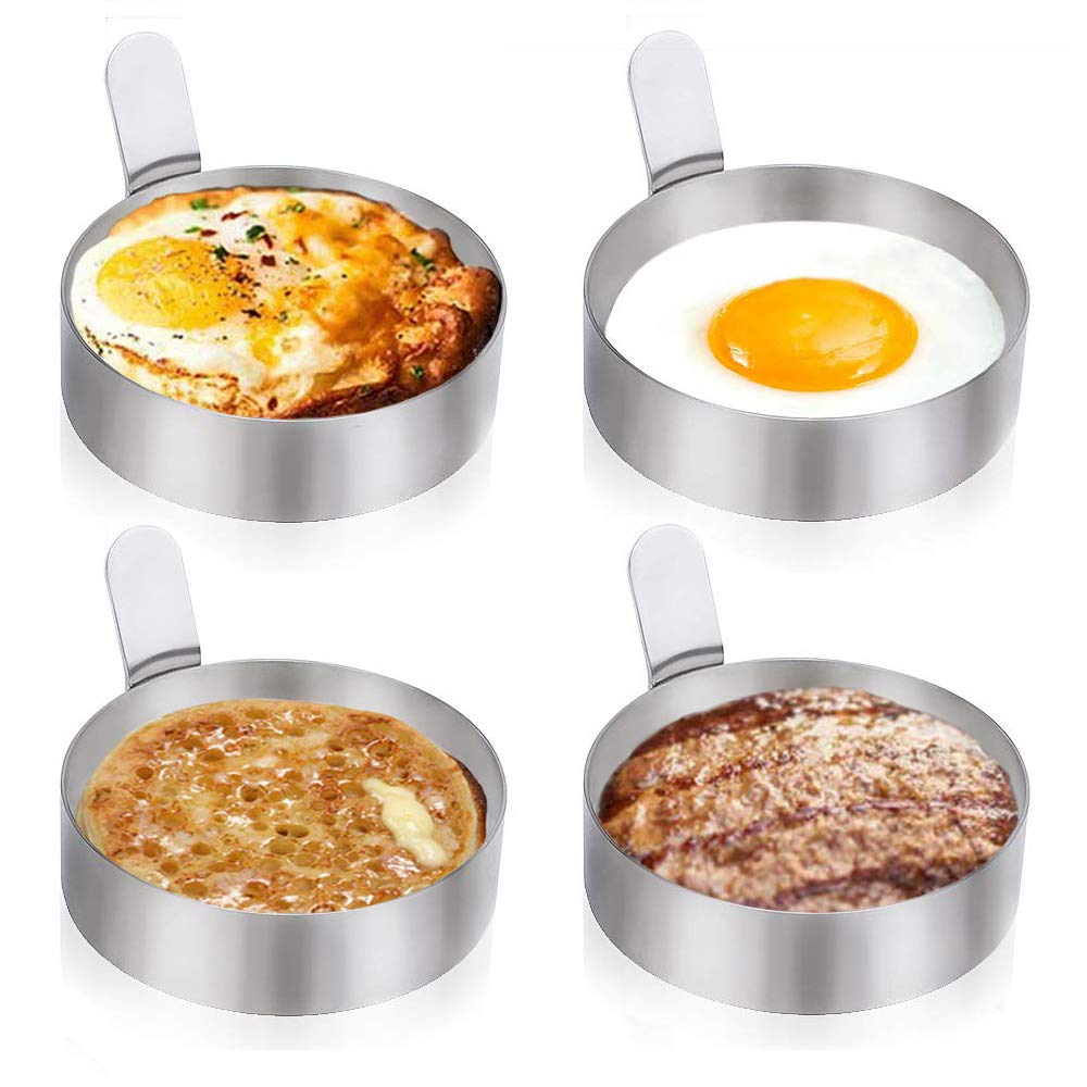 Egg Rings, 3.4 Inch Stainless Steel Omelet Mold Set of 4 Cooking Non Stick Pancake Ring Metal Kitchen Cooking Tool