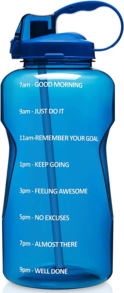 100/% Leakproof Tritan BPA Free Perfect for Fitness Gym and Outdoor Sports Aserlin Large 1 Gallon//128 OZ Motivational Water Bottle with Time Marker /& Straw When Full