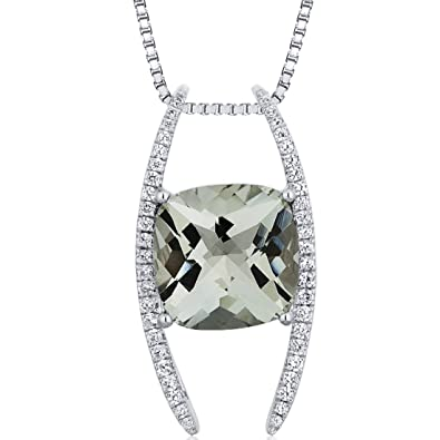 Amazon slider style large 450 carats cushion cut sterling slider style large 450 carats cushion cut sterling silver rhodium finish green amethyst pendant aloadofball Image collections