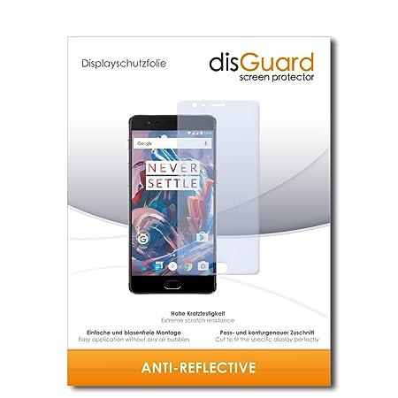 disGuard® Displayschutzfolie [Anti-Reflex] kompatibel mit OnePlus 3 [3 Stück] Entspiegelnd, Matt, Antireflektierend, Extrem K