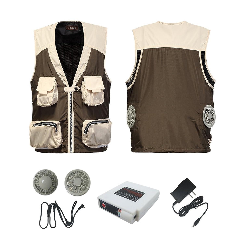 Jinpei 空調服 夏用 クーラー服 ベスト 【空調服+ファン+リチウム電池】釣り 屋外作業での熱中症対策暑さ対策に(アーミーグリーン) B07D7396VM XXX-Large