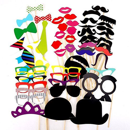 Photo Booth Prop 91 Pieces On A Stick Colorful DIY Mustache Hats Glasses Lips Bow Ties Picture Backdrop Kit for Wedding Birthday (Diy Backdrop)