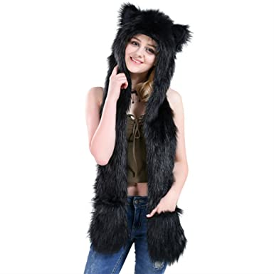 5e4a03901b048 Amazon.com: Black Cat Full Animal Hood Hoodie Hat Faux Fur 3 in 1 Function  Paw Mittens Gloves: Clothing