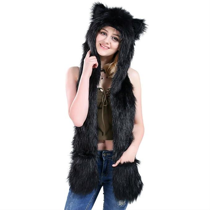 b702096efd3 Amazon.com  Black Cat Full Animal Hood Hoodie Hat Faux Fur 3 in 1 Function  Paw Mittens Gloves  Clothing