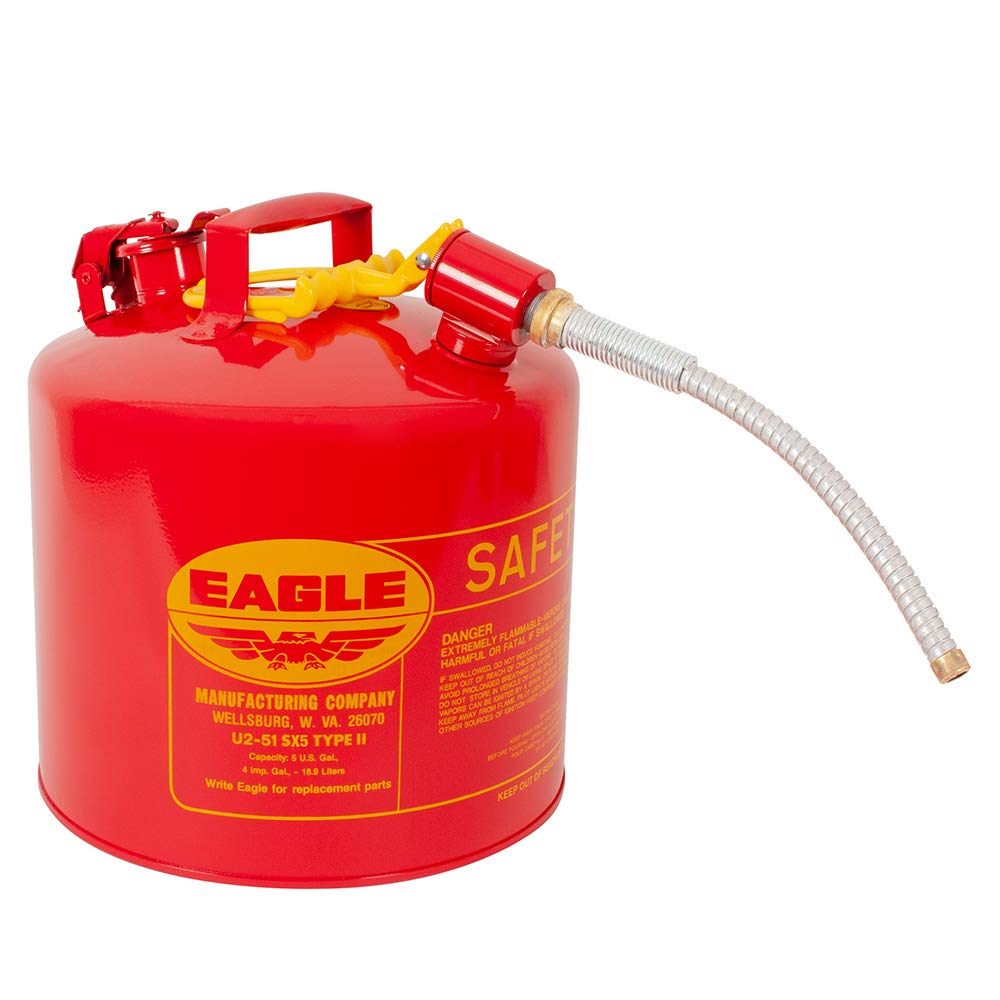 Eagle U2-51-SX5 Type II Metal Safety Can, Flammables, 11-1/4'' Width x 15-7/8'' Depth, 5 Gallon Capacity, 5/8'' OD Pour Spout, Red