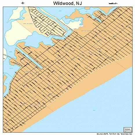Map Of Wildwood Nj Streets Amazon.com: Large Street & Road Map of Wildwood, New Jersey NJ