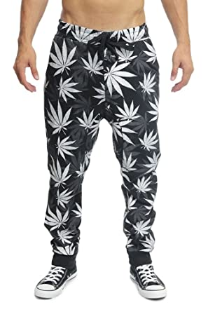 Victorious Magic Leaf Print French Terry Jogger Pants JG718 - BLACK/WHITE - Large - F13A