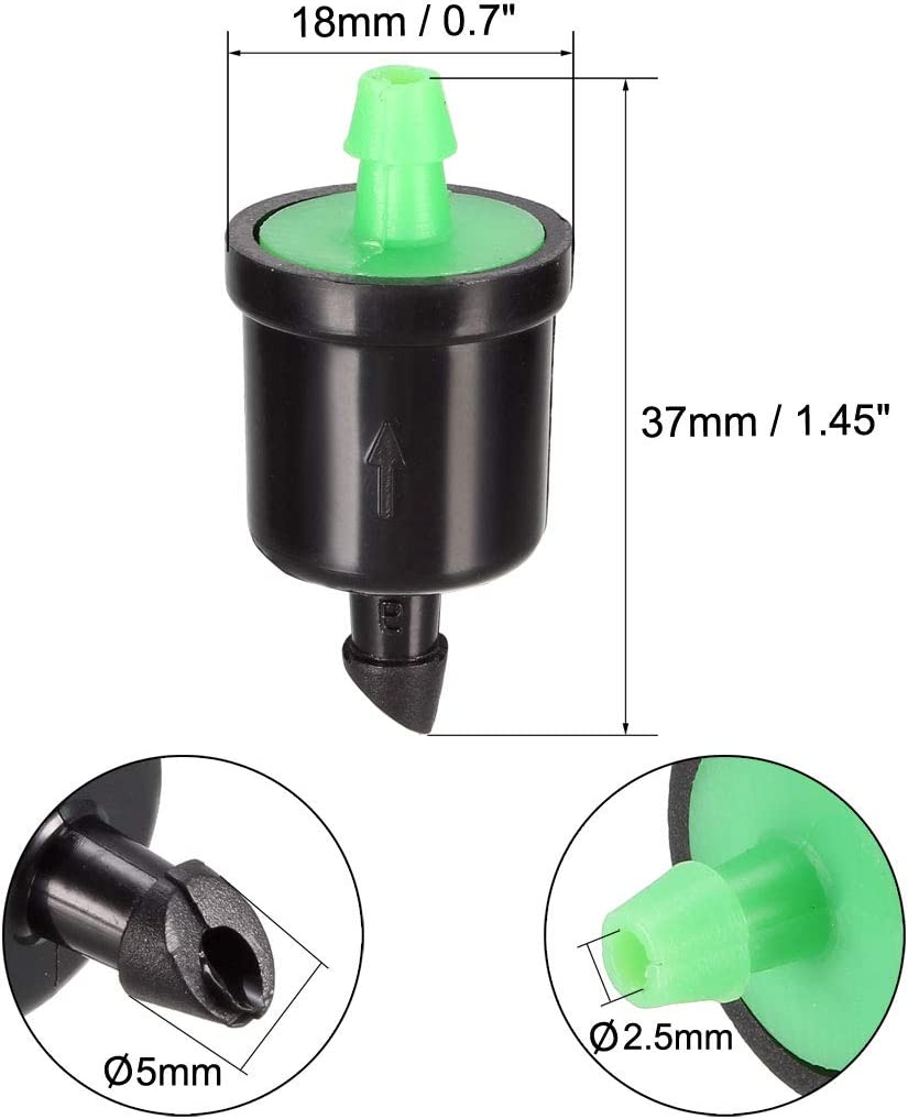 uxcell Pressure Compensating Dripper 8GPH 30L//H Emitter for Garden Lawn Drip Irrigation with Barbed Hose Connector Plastic Grey 20pcs