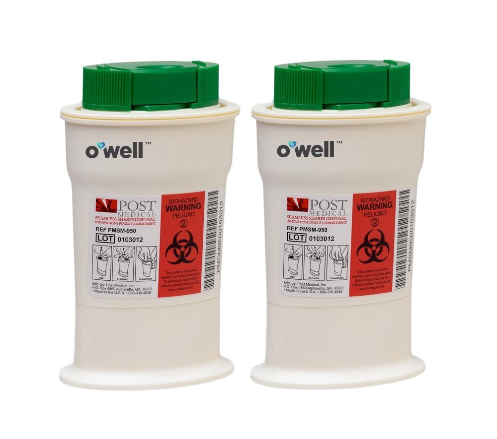 O'WELL Mini Sharps Container - Portable safety disposal unit for used Diabetes Test Strips & Lancets, with cap that clips off Needle Tips (2 Pack) by OWell