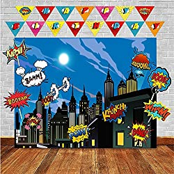 Superheros Photo Backdrop and Birthday Banner Superhero Party Supplies for Any Celebration - Superheroes Wall Decorations - Super Hero Cityscape for Boys or Girls