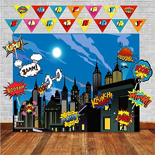 Superheros Photo Backdrop and Birthday Banner Superhero Party Supplies for Any Celebration - Superheroes Wall Decorations - Super Hero Cityscape for Boys or Girls -