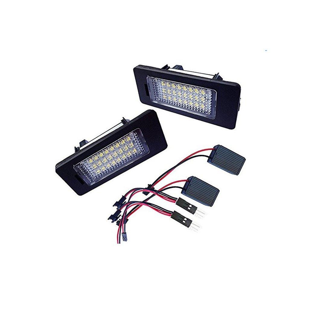 Ruesious Luces de placa LED de 1 par SMD3528 6000K 24SMD Luz de matrí cula para AUD A4 S4 A5 S5 Q5 TT TT-RS para V-W PASSAT 5D R36